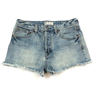 Free People Button Fly Cut Off Jean Shorts Size 27